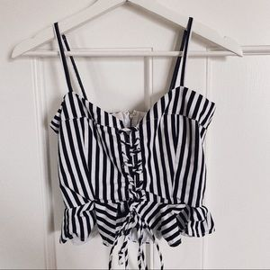 Olivaceous Black and White Top